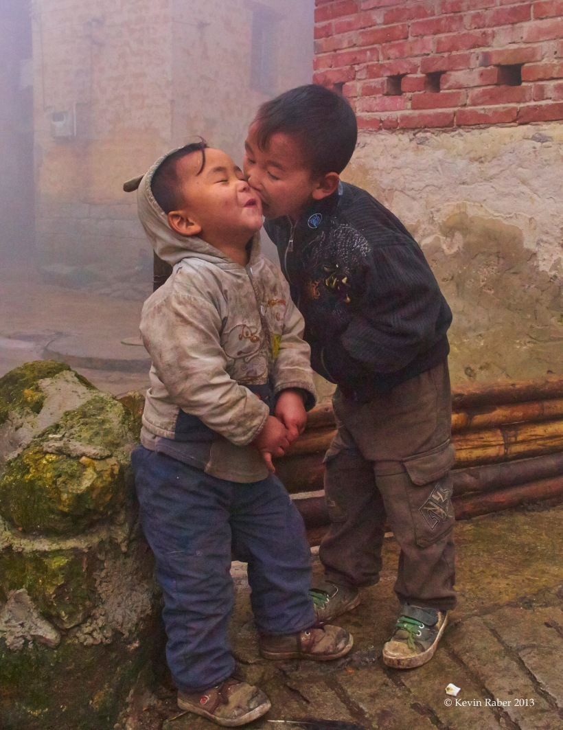 Two Boys having fun, Chinese PODAS 2013, Mountain top Yani Village, Southern China