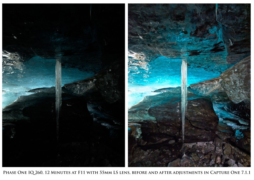 Before and After of the Ice Cave Image, shot in Iceland with the IQ260